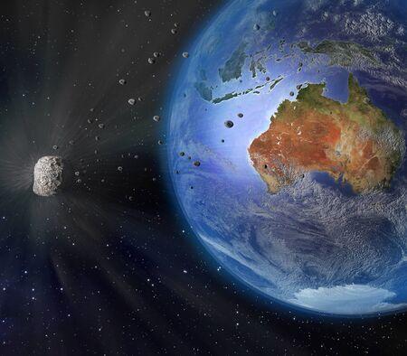 Eine Abbildung eines großen Asteroiden fliegen dicht gefolgt von der Erde. Erde Land und Wolken Textur Karten mit freundlicher Genehmigung von NASA.gov. Standard-Bild - 53555992