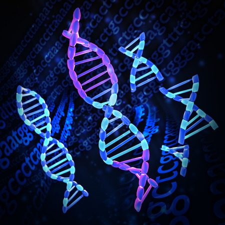 spliced: An illustration of DNA being spliced together Stock Photo