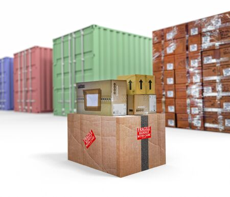 An illustration of various shipping containers and cardboard boxes on white background Reklamní fotografie