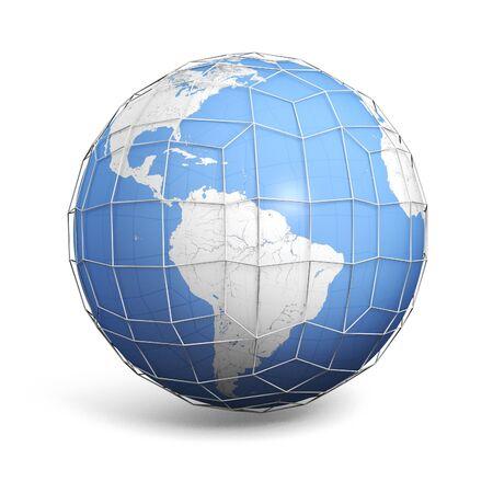 Eine Abbildung eines Globus mit einem Anschlussdrahtgitter bedeckt Standard-Bild - 54201429