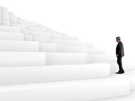 An illustration of a businessman climbing a white abstract mountain, related to the struggle for success.
