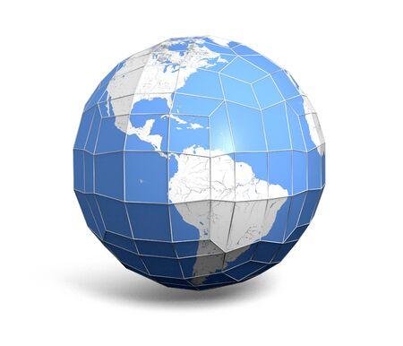 Eine Abbildung eines facettierten Globus in Low-Polygon-Stil oder gebeizt Glasoptik Standard-Bild - 54188331