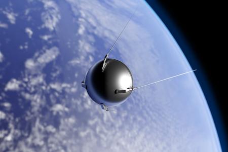 지구 궤도를 도는 1957 년 소련에 의해 시작된 최초의 인공위성 '스푸트니크'의 그림,