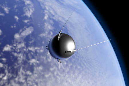 An illustration of the first artificial satellite Sputnik, launched by the Soviet Union in 1957, orbiting the Earth