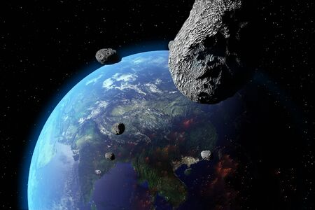 An illustration of asteroids approaching Earth. Earth land and clouds texture maps courtesy of NASA.gov Stock Photo