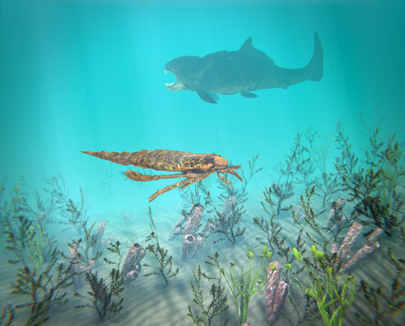 lurking: An illustration of Eurypterus exploring sea floor with Dunkleosteus lurking in the background. A typical scene from the mid Ordovician to late Permian (460 to 248 million years ago).