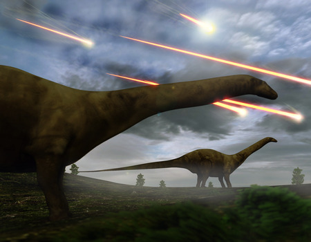 Brontosaurs look upon the meteors raining down that preceded the larger asteroid strike that would lead to the extinction of the dinosaurs 65 million years ago. Reklamní fotografie - 57536225