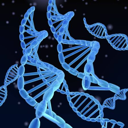 genetically modified organisms: A 3-D illustration depicting of DNA Helixes on dark background. Stock Photo