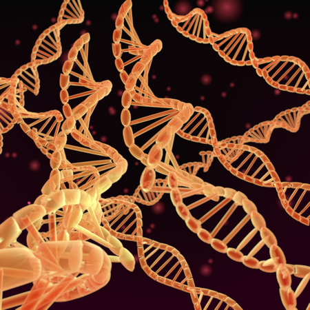biochemical: A 3-D illustration depicting DNA Helixes on dark red background. Stock Photo