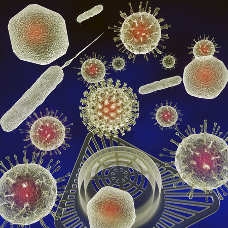 A 3-D illustration depicting viruses and bacteria in and around a Public Restroom Urinal