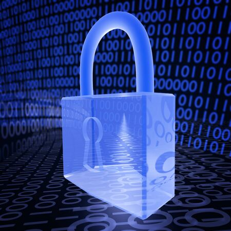 A 3D illustration depicting a padlock on a binary background, related to internet security and virus protection. Stock Photo
