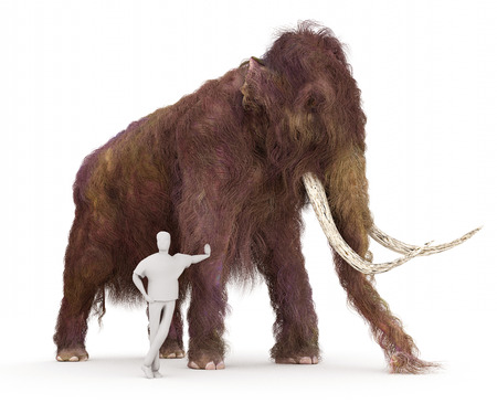 A 3-D illustration of a Woolly Mammoth and a typical height human in a size comparison.
