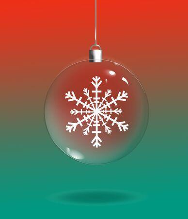 녹색 및 빨강 배경 위에 눈송이와 투명 유리 크리스마스 장식의 그림. 스톡 콘텐츠