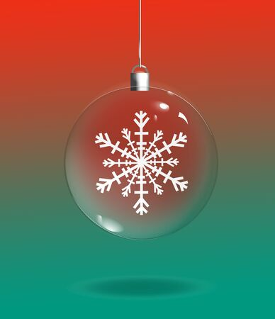 An illustration of a clear glass Christmas Ornament with a snowflake inside on a green and red background. Stock Photo