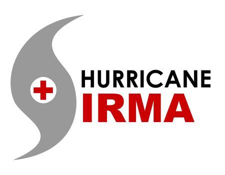 Eine grafische Darstellung des Hurrikans Irma mit Text und SOS Kreuz. Hurrikan Irma ist ein Sturm, der sich im September 2017 in der Karibik bildete und einen Weg der Zerstörung bildete und Florida in den Vereinigten Staaten näherte. Standard-Bild - 85475167