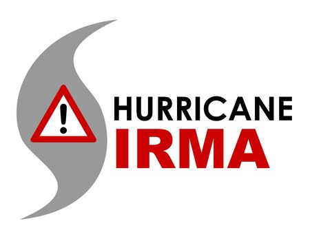 An graphic illustration of Hurricane Irma with text and SOS cross. Hurricane Irma is a storm that formed in September 2017 in the Caribbean, creating a path of destruction and approached Florida in the United States. Stock Photo