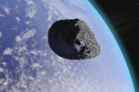 지구에 근접하여 지나가는 소행성을 묘사 한 3-D 그림. 스톡 콘텐츠