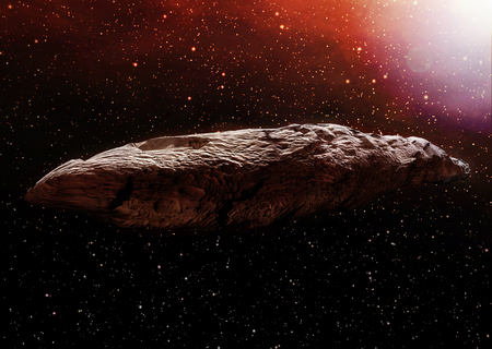 A 3D illustration of the interstellar object known as Oumuamua. Originally classified as an asteroid, Oumuamua is an object estimated to be about 230 by 35 meters (800 ft x 100 ft) in size, travelling through our solar system. Reklamní fotografie