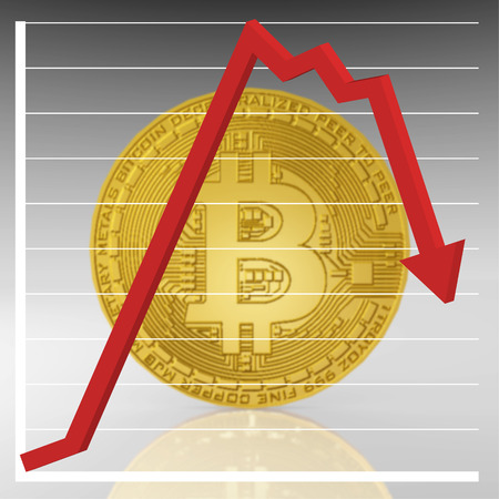 An illustration of a Bitcoin with a downward trending graph chart. Stock Photo
