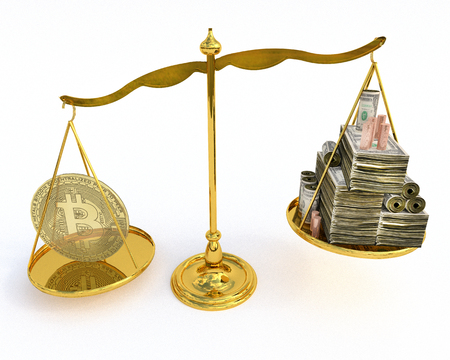 A 3D illustration of a Bitcoin on a scale weighing against stacks of US dollars and coins. Stock Photo