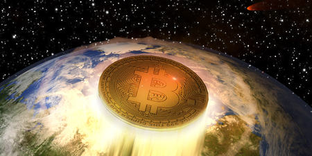 A 3D illustration of a Bitcoin blasting off from the Earth. The image is related to the explosive growth and value of the cryptocurrency over a very short period of time.
