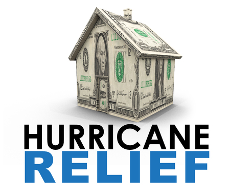 An graphic illustration related to the financial costs from governments and other national agencies to be able to provide relief to hurricane stricken areas. The image depicts a house made from US dollar bills and text. Stock Photo
