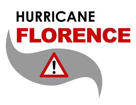 A 2-D  illustration with text related to the tropical storm Florence that struck the United States in September 2018. Stock Photo