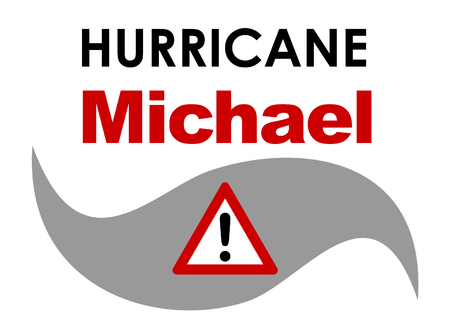 A graphic illustration of Hurricane Michael with text. Hurricane Michael was a tropical storm that formed in October 2018 in the Caribbean, that approached Florida in the United States. Stock Photo