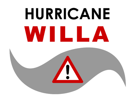 A graphic illustration of Hurricane Willa with text. Hurricane Willa was a fierce storm that formed in October 2018 in the Pacific and made landfall on the western Mexican coast.