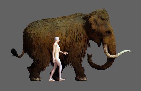 A 3D illustration of a Woolly Mammoth and an average sized human in a side by side comparison.