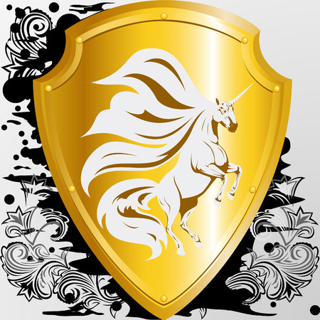 golden shield: Golden shield with a unicorn Illustration