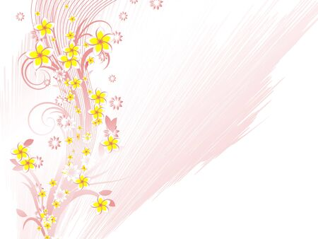 twisted: Curly pattern of flowers and petals on a white background Illustration