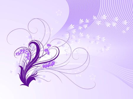 curly: Curly pattern of flowers and petals on a purple background Illustration