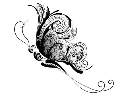 motif Curly d'un papillon sur un fond blanc