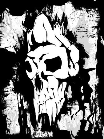 classic monster: Fantastic white skull on a dark background