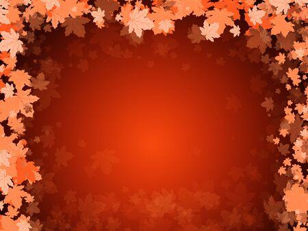 Maple leaves on a dark orange background