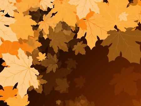 dark brown background: Maple leaves on a dark brown background Illustration