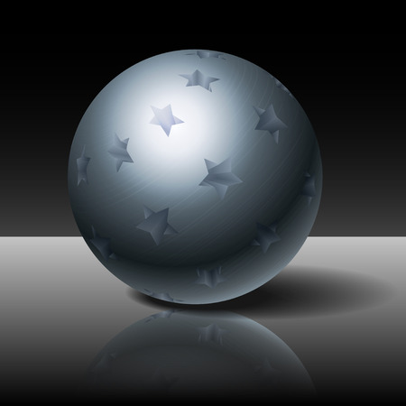 metal sphere: Metal sphere with stars on a dark background Illustration