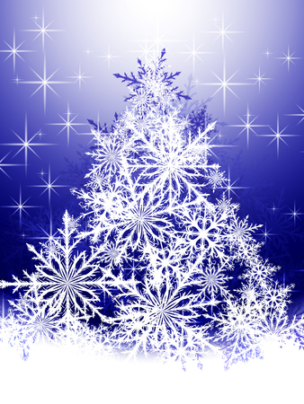 christmas snowflakes: Christmas tree made of white snowflakes on a blue background Illustration