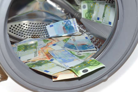 cash cycle: A lot of money in washing machine