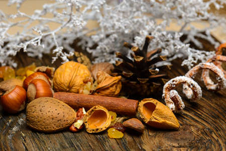 recently: Dried raisins and nuts on natural wood