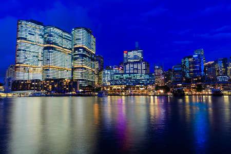 Darling Harbour bei Nacht, Sydney, Australien