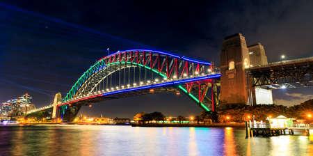 Sydney Harbor Bridge during Vivid Festival, Australia