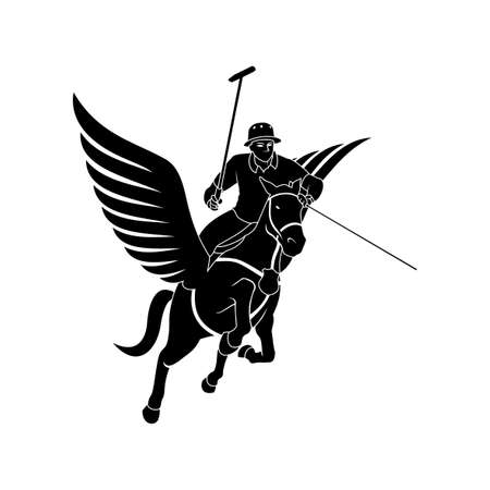Vector sillhouette of polo player with pegasus