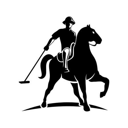 Vector sillhouette of polo player with horse
