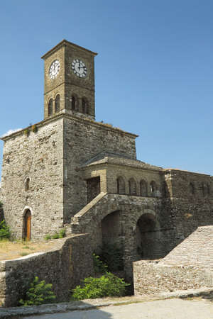 Clock tower of the citadelfortress in ancient city of Gjirokast�r, southern Albania