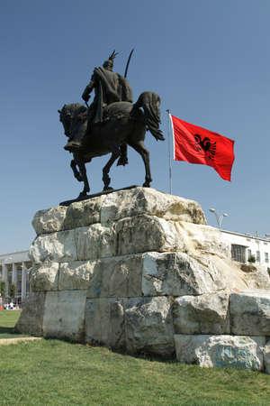 Tirana, Albania, Skanderbeg Monument and National Flag