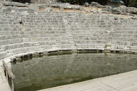 siete: Ruins of ancient Greek Roman theatre at archeological siete of Butrint, south Albania