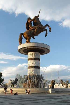 Macedonia, Skopje, Alexander the Great Monument and fountain at Macedonia Square, afternoon light