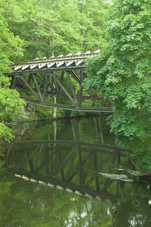 wielkopolskie: Poland, Wielkopolskie Province, Jastrowie, rail bridge over Gwda river blasted by German troops in early 1945 Stock Photo